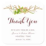 Rustic Antlers & Wildflowers Wedding Thankyou Square Sticker
