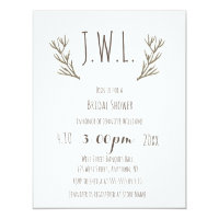 Rustic antlers wreath bridal shower invitations