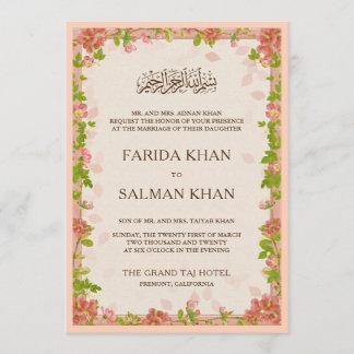 Rustic Apricot Floral Frame Islamic Muslim Wedding Invitation