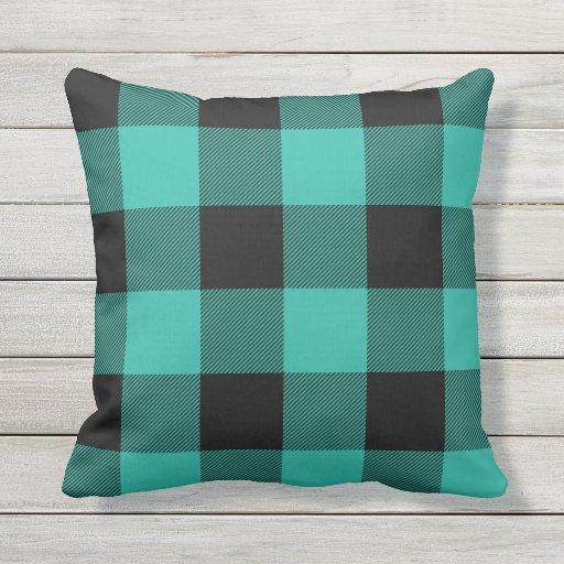 Plush Buffalo Plaid Rug: Rustic Aqua And Black Buffalo Check Plaid Outdoor Pillow