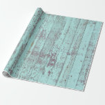 """Rustic Aqua Barn Wood Wrapping Paper<br><div class=""""desc"""">Rustic Aqua Barn Wood wrapping paper. Unique rustic chic design with distressed barn wood in aqua. See more at our store,  The Unusual. Link below:</div>"""