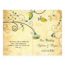 Rustic, aqua floral folded , fall Wedding program