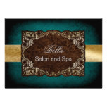 rustic aqua gold Business Thank You Cards