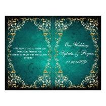 Rustic,aqua gold regal bookfold Wedding program