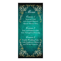 rustic aqua gold regal wedding menu