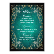 rustic aqua gold regal wedding menu card