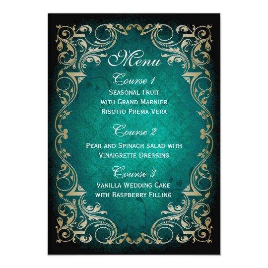 rustic aqua gold regal wedding menu card