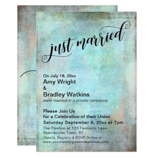 Rustic Aqua Just Married Post-Wedding Celebration Invitation