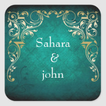 rustic aqua regal envelope seal