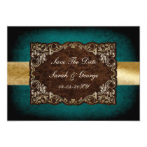 rustic aqua regal save the date announcement