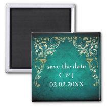 rustic aqua regal save the date magnets