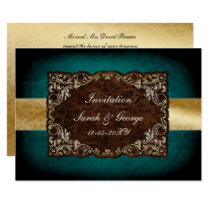 rustic aqua regal wedding Invitation cards