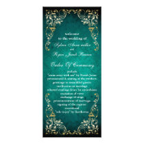 rustic aqua regal  wedding program