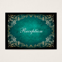 rustic aqua regal wedding reception cards