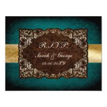 rustic aqua regal wedding rsvp cards