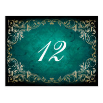 rustic aqua regal  wedding table seating card