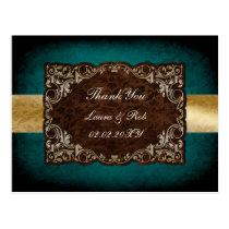 rustic aqua regal wedding Thank You Postcard