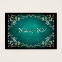 rustic aqua regal wishing well cards
