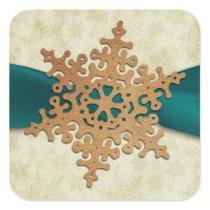 rustic aqua snowflake envelope seal