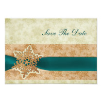 rustic aqua snowflake save the date announcement