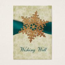 rustic aqua snowflake wishing well cards
