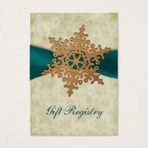 rustic aqua snowflakes Gift registry  Cards