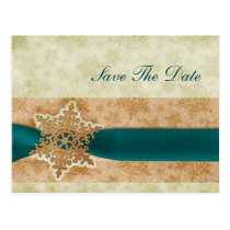 rustic aqua snowflakes save the date postcard