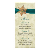 rustic aqua snowflakes winter wedding menu