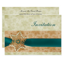 rustic aqua winter wedding Invitation cards