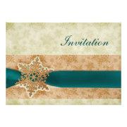 rustic aqua snowflakes winter wedding invites by mgdezigns