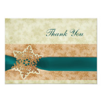 rustic aqua winter wedding Thank You Card