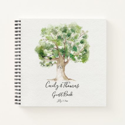 Rustic Arboretum Oak Tree Monogram Guest Book