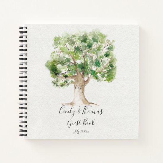 Rustic Arboretum Oak Tree Monogram Guest Book