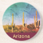 "Rustic Arizona Saguaro Cactus Coaster<br><div class=""desc"">Rustic Arizona sandstone coaster,  with an image of desert cacti and a maroon trim. With warm yellow text,  you can customize this item with your message. The saguaro cactus is a gem of the Sonoran desert,  and I hope you enjoy it!</div>"