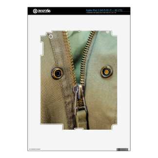 Rustic Army Green Zipper Print Decals For iPad 3