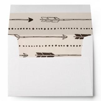 Rustic Arrow Envelopes in Brown & Cream