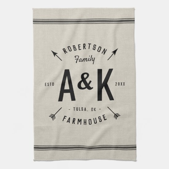 Rustic Arrow Family Monogram Hand Towel