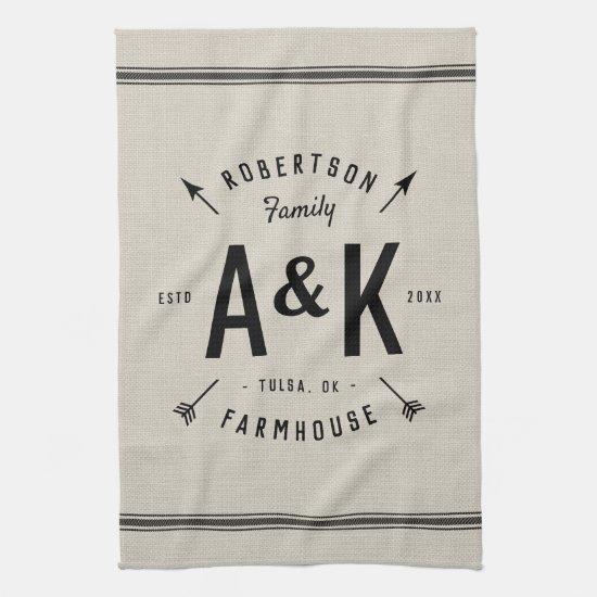 Rustic Arrow Family Monogram Kitchen Towel