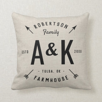 Rustic Arrow Family Monogram Throw Pillow
