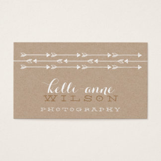 RUSTIC ARROW PATTERN cute boho white kraft Business Card