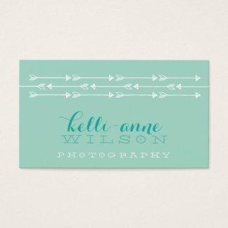 RUSTIC ARROW PATTERN cute boho white mint fresh Business Card