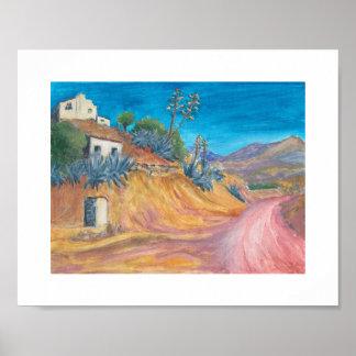 Rustic art colorful impressionist landscape prints poster