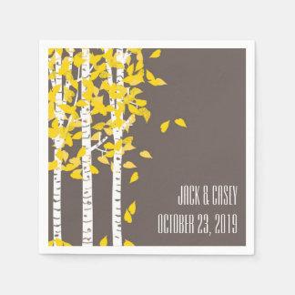 Rustic Aspen Birch Trees Wedding Napkins