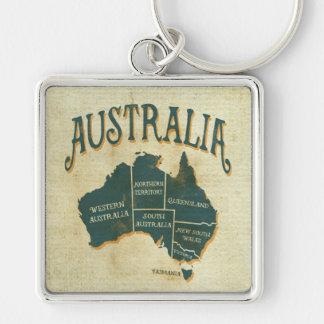 Rustic Australian States Map Keychain