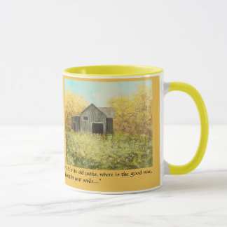 "Rustic Autumn Barn ""The Old Paths"" Gold Mug"