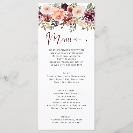 Rustic Autumn Boho Watercolor Floral Heart Script Menu
