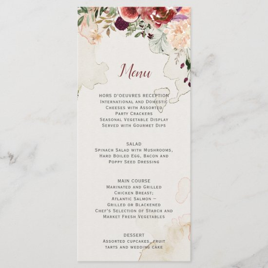 Rustic Autumn Boho Watercolor Floral Wedding Menu