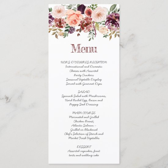 Rustic Autumn Boho Watercolor Handwritten Script Menu