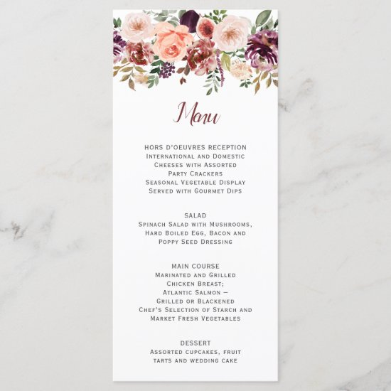 Rustic Autumn Boho Watercolor White Background Menu
