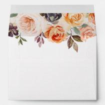 Rustic Autumn Elegant Floral Wedding Invitation Envelope